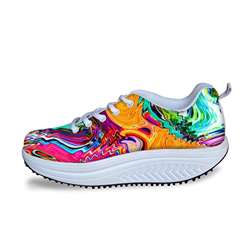 Wedges Mesh Colorful Pattern Swing FOR Shoes 1 U Rocking Women's Sneakers Flexible Platform DESIGNS Xwq6ZxT06v