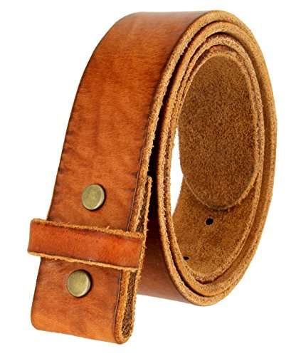 Smooth Leather Belt Strap (BS001 Vintage Genuine Leather Belt Strap Without Slot Hole 1.5