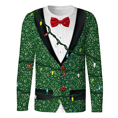 Sudadera con Estampado 3D Camiseta FEA de Navidad para Hombre Camiseta con Cuello Redondo Sudadera Informal,B,M