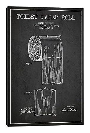 iCanvasART Toilet Paper Charcoal Patent Blueprint Canvas Print 18 x 12