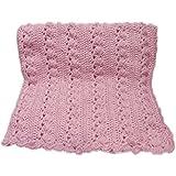 Baby Girl Pink Cable Look Crochet Blanket Handmade 36 x 40