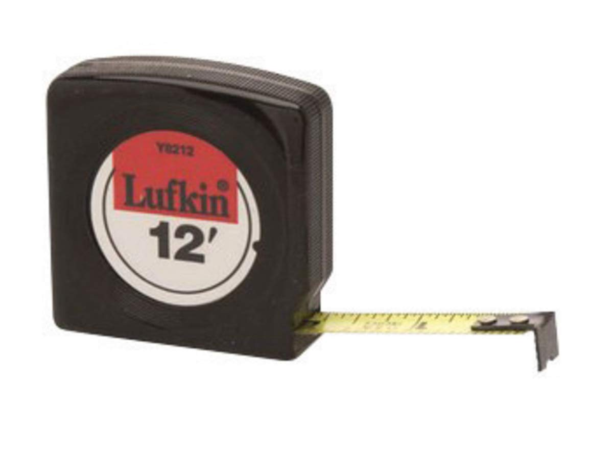 Cooper Hand Tools Lufkin Mezurall 1/2'' X 12' Black Case Yellow Clad Steel Blade Single Side Economy Measuring Tape With Belt Clip