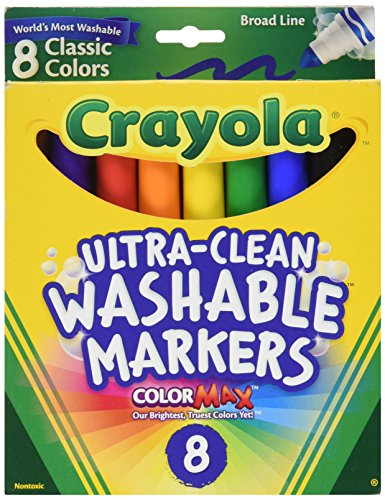 Crayola Ultra Clean Washable Broad Line Markers  8 Assorted Classic Colors