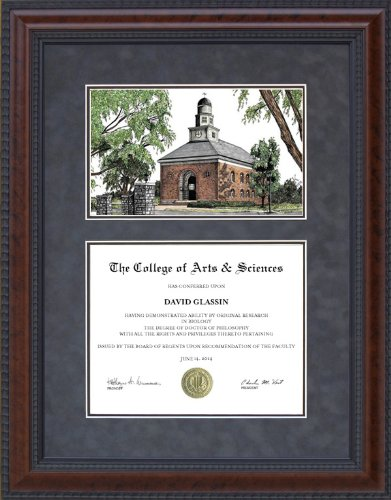 - Diploma Frame with Illinois Wesleyan University (IWU) Lithograph - 18 x 24 vertical (portrait) diploma