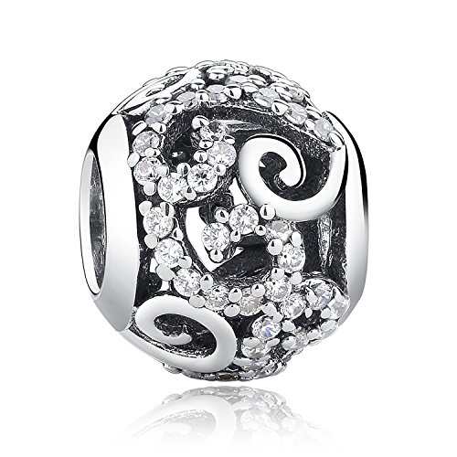 Sterling Silver Ocean Breeze Charms Faith Love Paved AAA Zircon Openwork Charms Fit Snake Chain Bracelets
