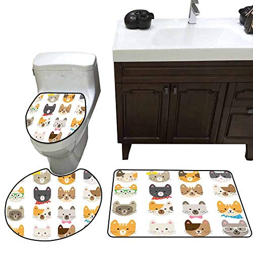 (3 Piece Extended Bath mat Set Animals Cats Costume with Glasses and Bow Tie Bandana Cartoon Artwork Craft Pattern Print Printed)