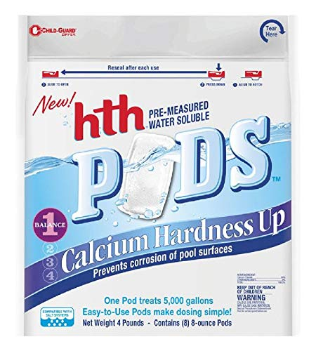 hth 67052 Pre-Measured Water Soluble Pool Chemical Pods, Calcium Hardness Up, 8 ()