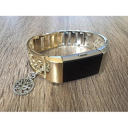 Bicolore Argenté et métal doré Band pour Fitbit Charge 2tracker de fitness Motif de fleurs Bijoux Bracelet avec charm Arbre de vie Argent fait à la main Bracelet réglable
