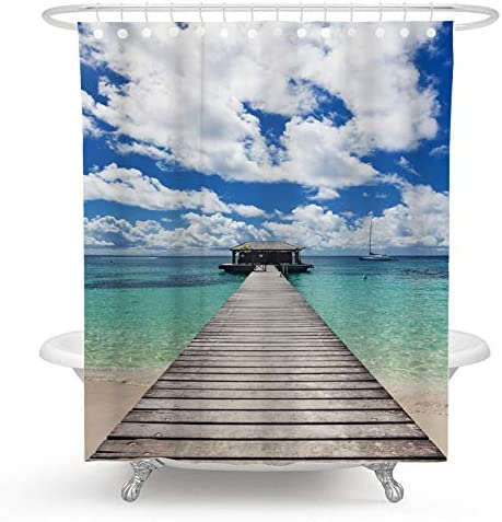 Ormis Welcome on Board Lifebuoy on Wooden Background Pattern Shower Curtains,Waterproof Polyester Fabric Shower Curtain Set Fantastic Decorations Bath Curtain 72 x 72 183cm x 183cm