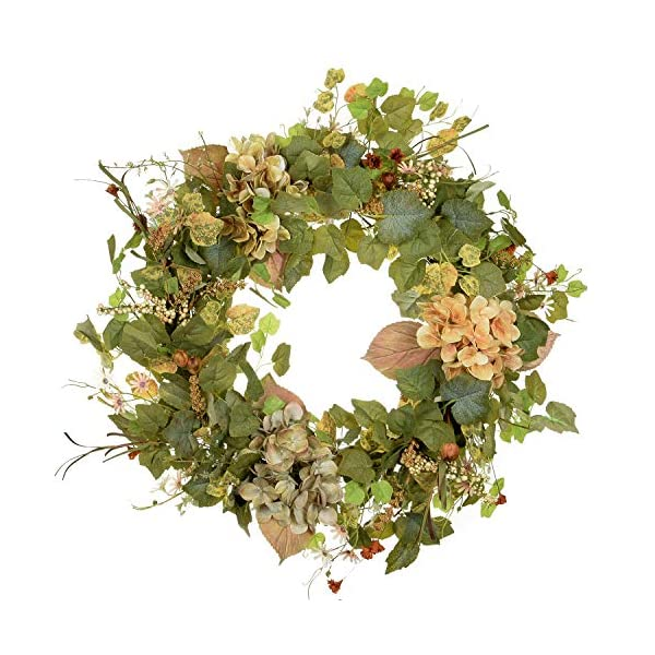 POETIC WREATH F3 Large 21 inch Green Wildflower Grapevine Wreath.Year Round Wreath.Spring Wreath.Summer Wreath.Front Door Wreath.Festival Wreath.Gifts Handmade Wreath.Rustic Wreath.Home Hanger