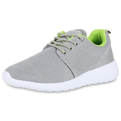 best-boots Unisex Damen Laufschuhe Fitness Sneaker Sport Turnschuhe Hellgrau Neongrün Nuovo