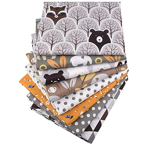 15.7x19.7 Inch Jungle Animal Full Sheet Sets Cotton- Printed Twill Cotton Fabric- Pack of 8 Patchwork Clothes for Women- DIY Sewing Quilting Fat Quarters Material For Baby- Twill Cotton Fabric - Cotto