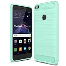 for Huawei P8 Lite 2017 Case Green Soft TPU Silicone Nova Lite Cases Protective Cover Shockproof Non-slip Covers Smartphone Shell Wire Drawing Surface - Amaxy