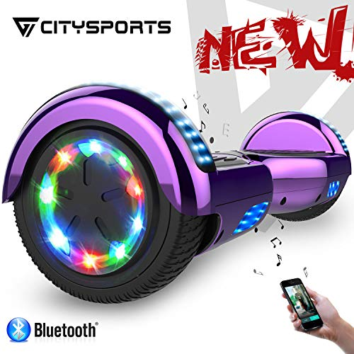 """CITYSPORTS Hover Board 6.5 """" con LED Flash Bluetooth Patinete Eléctrico Diseño Elegante Balance Board Eléctrico para Adultos y Niños"""