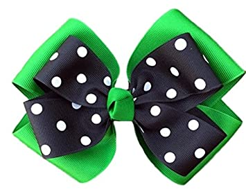 575bf2a6a8cc Amazon.com   Victory Bows Polka Dot Double Quad Grosgrain Hair Bow- The  Siena Marie Kelly Green and Black- Made in the USA French Clip   Beauty