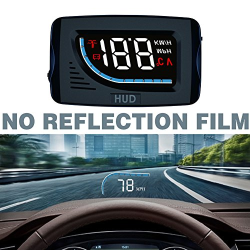 Car HUD Head Up Display 3inch Windshield Projector OBD II/EUOBD Interface Plug & Play Speedometers Engine Speed Auto Electronics Accessories