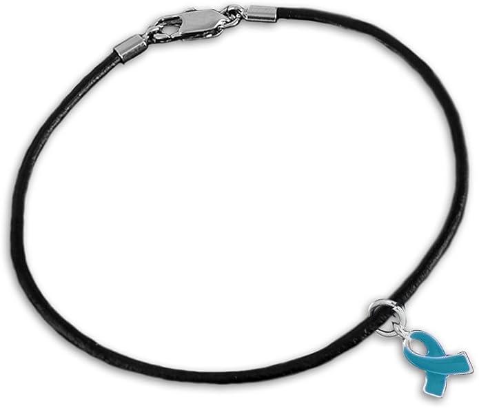 Violación conciencia cinta de color verde azulado sobre cable negro pulseras de abalorio (al por mayor – Pack de 12 pulseras): Amazon.es: Joyería