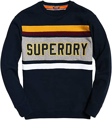 Superdry Applique Weekend Cut /& Sew Crew Mens Jumper Highland Navy All Sizes