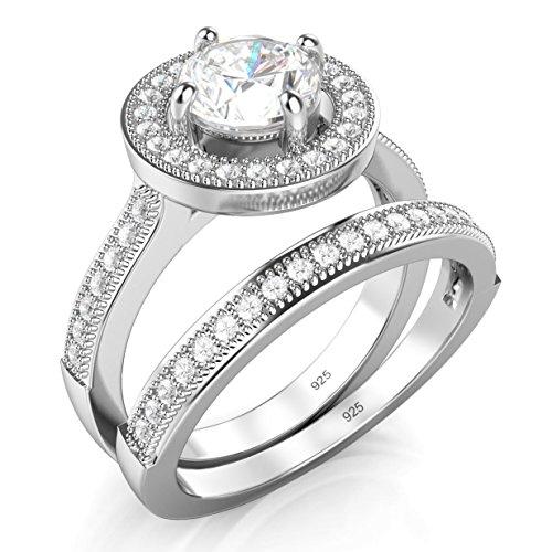 Sz 6 Sterling Silver Cubic Zirconia Round CZ Wedding Milgrain Wedding Engagement Ring Set