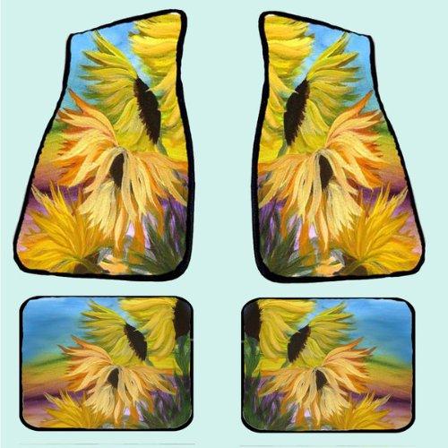 Sunflower Field Art Auto Car Floor Mat Sets