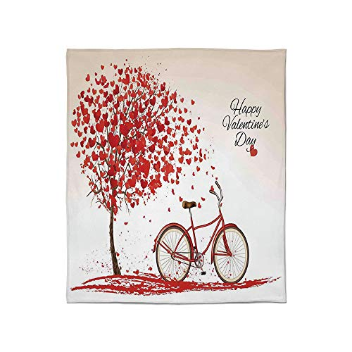 YOLIYANA Super Soft Blanket,Valentines Day,for Camping Bed Couch,Size Throw/Twin/Queen/King,Romantic Tree Blooming Red Hearts with Bike (Best Electric Bikes Denver)