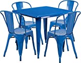 31.5'' Industrial Square Blue Metal Indoor-Outdoor Restaurant Table Set with 4 Stack Chairs