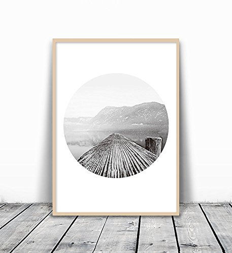Mountain Photography, Mountain Print, Tree Ring Print, Black and White Sea Print, Mountain And Sea, black and white, Scandinavian Print, Photography Print, Mountain Wall Art, Scandinavian Art, 8x10