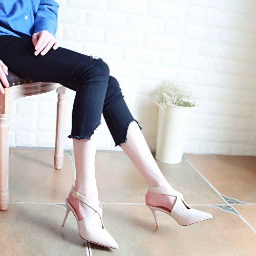 Xue Solo Qiqi 38 Tacón Zapatos sugerencia Beige Zapatos Cruz Atar Tribunal Sandalias con Vacío de ranurada Zapatos Superficial expuesta Zapatos Finas y Boca rrwHq1Pd