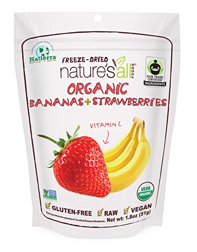 Organic Banana Dried (Natierra Nature's All Foods Organic Freeze-Dried Bananas and Strawberries, 1.8 Ounce)
