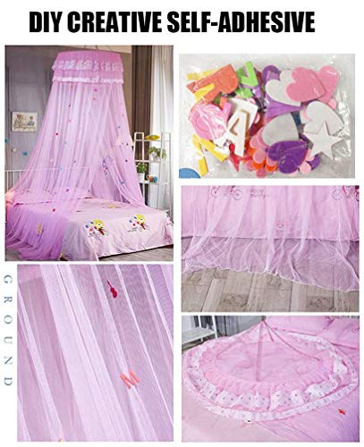 JBailmx Mosquito Net, Anti-Mosquito Net Canopy with DIY Self-Adhesive Butterfly, Mosquito Insect Net Protection Curtains for Single Or Double Beds Indoor Or Outdoor, Rip-Resistant,Pink