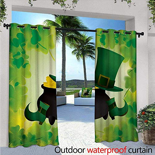 BlountDecor St. Patricks Day Indoor/Outdoor Single Panel Print Window Curtain W96 x L84 Leprechaun Hat and Shoes Costume with Pot of Gold with Shamrock Leaves Silver Grommet Top Drape Forest Green (Shoes Basketball T-mac)