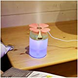 FUT Four Leaf Clover Lucky 220ml Humidifier Portable USB Desktop Cool Mist Humidifier with Colorful LED Night Light for Home Office