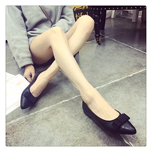 Weiyin Womens Toe Office Scarpe Da Lavoro Basse Ballerine Nere