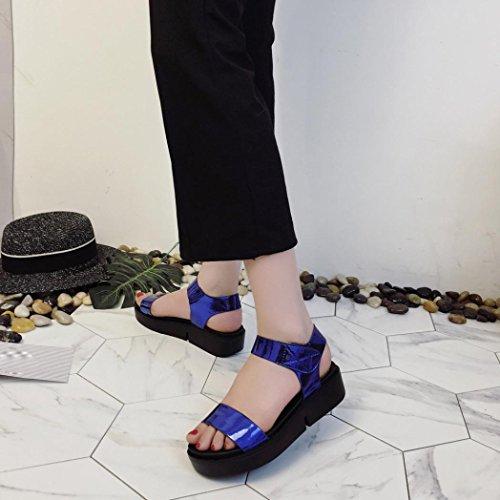 Elevin(TM)Women Summer Fashion Roman Peep Toe Platform Flip Flops Sandal Footwear Shoes Blue vpFt0
