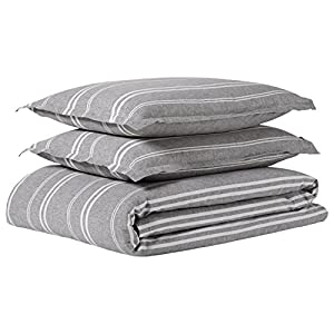 Rivet Classic Maxwell Garment-Washed Stripe Duvet Cover Set, Full/Queen, Gray with White Stripe
