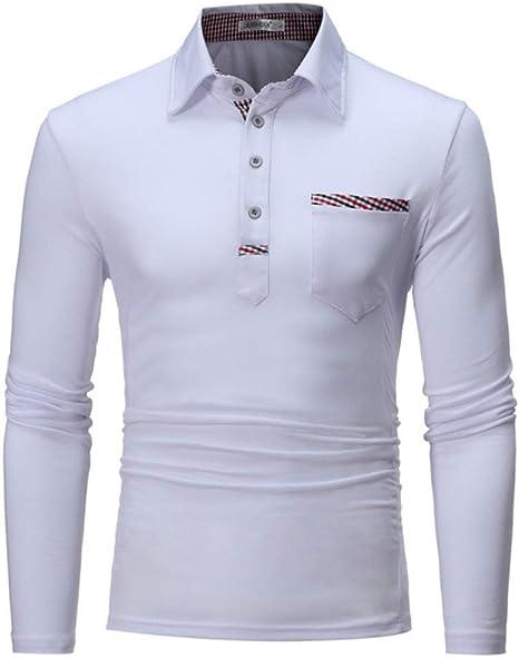 NISHIPANGZI Hombres Camiseta Polo Manga Larga de algodón de Moda ...