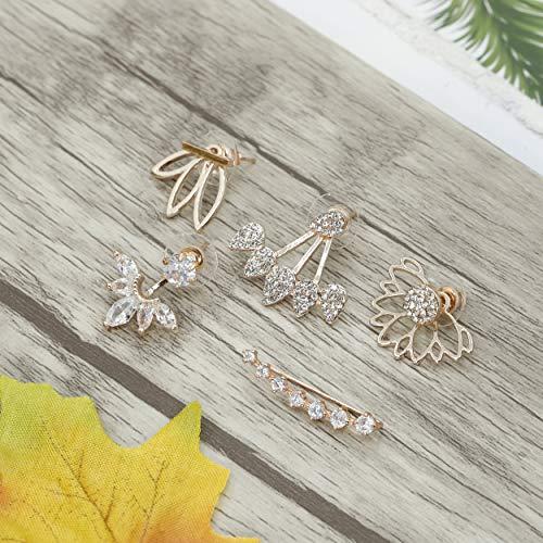 026ba2af9b7ec Milacolato 5 pairs Hollow Lotus Flower Ear Jackets For Women Girls Ear Stud  Simple Chic Earrings Rose-gold