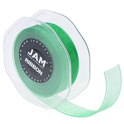JAM PAPER Sheer Ribbon - 7/8 Wide x 100 Yards - Emerald Green - Sold individually