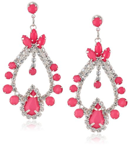 [Opaque Tapered Diamond and Round Crystal Stone Posted Shiny Gold and Pink Earrings] (Costume Jewelry Diamond Rings)