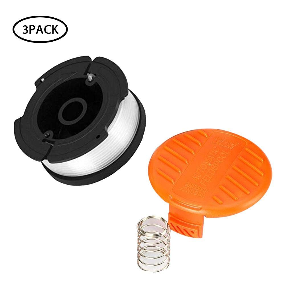 Leegoal Trimmer Replacement Spool Cap Covers and Spring Compatible for Black Decker Trimmer 1 Spool Cap, 1 Spring 2 Pack