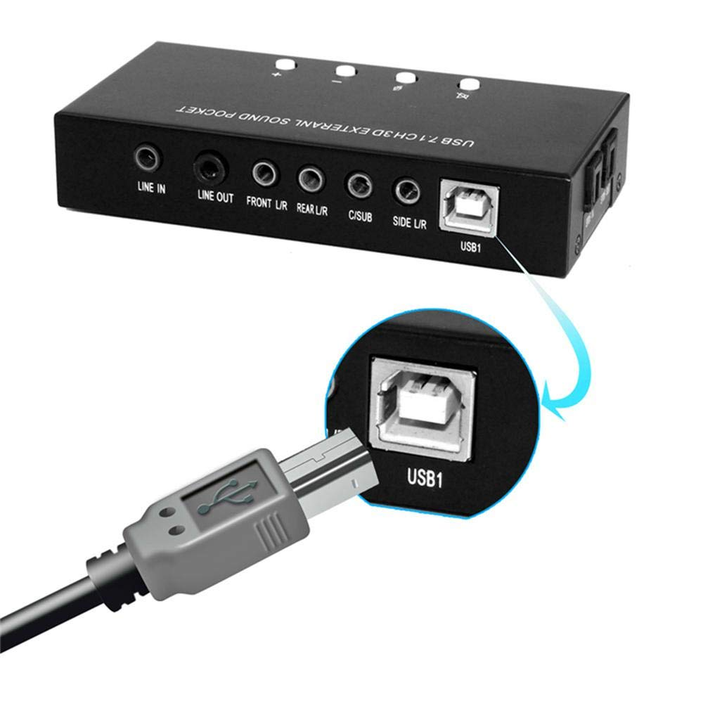 LayOPO - Tarjeta de Sonido Envolvente Virtual Externa USB ...