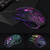 Wired Mouse, VersionTech Ergonomic Optical USB Gaming Mouse Mice With 4 DPI Settings Up to 2400 DPI, 7 Colors Cool LED Backlight for Laptop PC Computer Gamer - Black