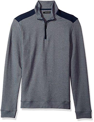 AXIST Men's Long Sleeve Pique 2 Tone Quarter Zip Sweater, Ink, - Pullover Ink