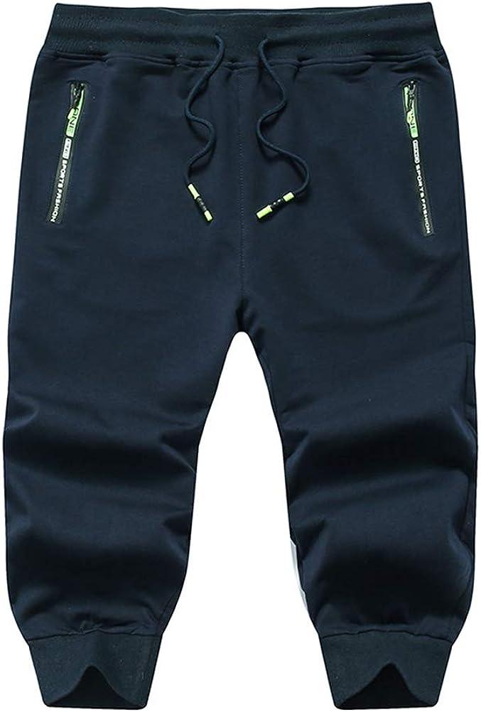 Uni Clau Mens 3//4 Jogger Pants Elastic Waist Capri Gym Workout Running Shorts Sweatpants