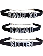 3 Pack Chokers - Kawaii Collar Necklaces Kitten Kitty Rawr XD Cute E Girl Goth Emo Jewelry