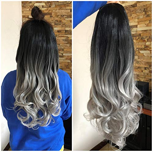 24 Inches No Front Parting Half Head Wig Long OMBRE 3/4 Weave Brown Blonde (Wavy- Natural black/grey)]()