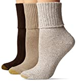 Gold Toe Women's 3-Pack Bermuda Turn Cuff Sock Brown Mix 9-11 (Shoe Size 6-9)