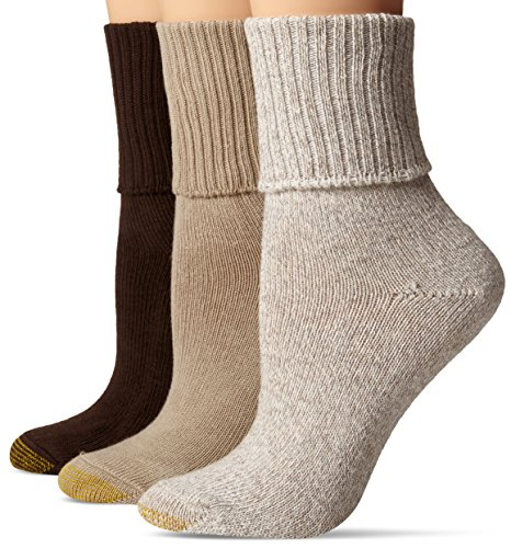 - Gold Toe Women's 3-Pack Bermuda Turn Cuff Sock Brown Mix 9-11 (Shoe Size 6-9)