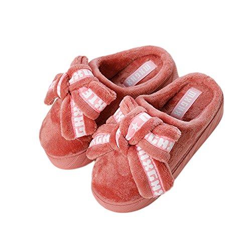 Pantofola Di Cotone Invernale Donna Accogliente Btrada - Dolce Pelliccia Di Bowknot Fodera Interna Alta Coppia Coperta Rosso