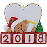 MAXORA 2018 Baby's 1st Christmas Personalized Bear Ornament Gift